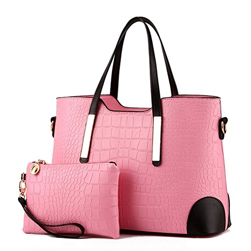 Pahajim PU leather women top handle satchel handbags tote purse Crocodile handbag (pink)