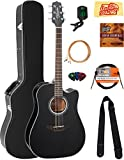 Takamine GD30CEBLK Dreadnought Cutaway Acoustic-Electric Guitar - Black Bundle with Hard Case, Cable, Tuner, Strap, Strings, Picks, Austin Bazaar Instructional DVD, and Polishing Cloth