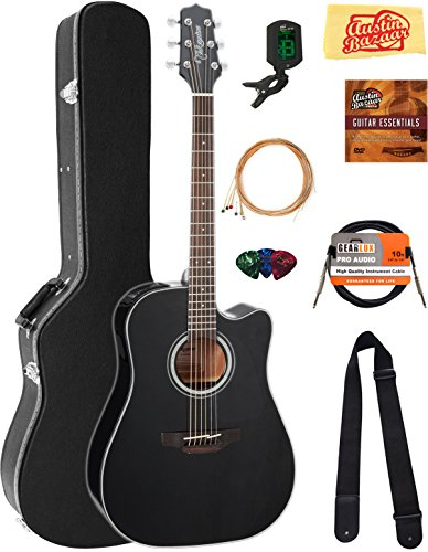 Takamine GD30CEBLK Dreadnought Cutaway Acoustic-Electric Guitar – Black Bundle with Hard Case, Cable, Tuner, Strap, Strings, Picks, Austin Bazaar Instructional DVD, and Polishing Cloth