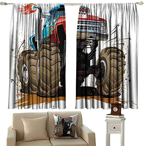 Decorative Curtains for Living Room Man Cave Decor Monster Truck Splashing Mud Graphic Design Flame Machinery Engine Wheels Tie Up Window Drapes Living Room W63 xL72 Multicolor ()