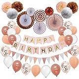 Rose Gold Birthday Party Decorations by Nextin, Birthday Decorations Set 52pc Pom Poms, Hanging Paper Fans, Happy Birthday banner, Glitter Garlands, Balloons,Confetti balloons. Birthday decoration kit