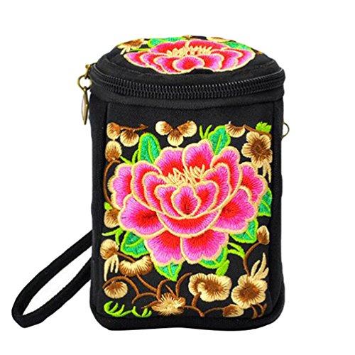 YAANCUN Mini sac Toile Femme Rouge Brodé Imprimé Floral Durable Zipper Main Portable à qrAZCTwq