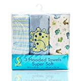 Spasilk Soft Terry Hooded Towel Set, Blue Dino, 3-Count