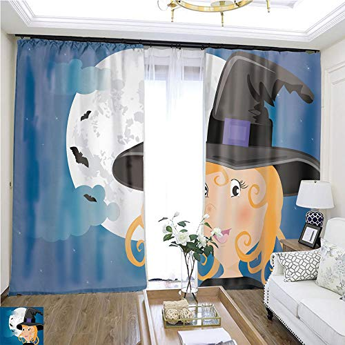 (Tulle Curtain Cute Girl in Halloween Costume Whit Moon and Bats W96 x L276 Wide Curtain for Insulation Highprecision Curtains for bedrooms Living Rooms Kitchens)
