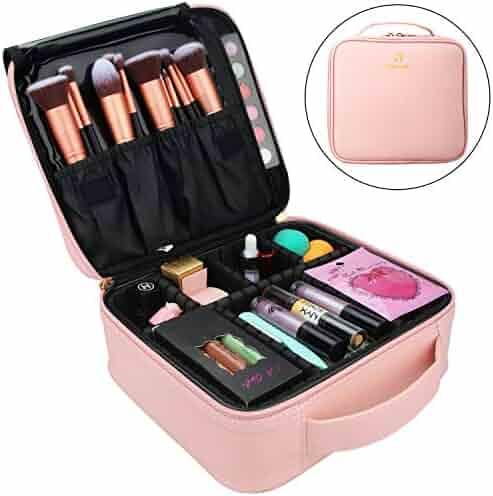Relavel Makeup Case Travel Makeup Bag Makeup Train Case Cosmetic Bag Toiletry Makeup Brushes Organizer Portable Travel Bag Artist Storage Bag with Adjustable Dividers (Pink)