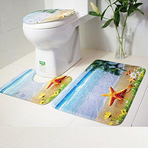 Hot Sale!DEESEE(TM)3pcs/set Bathroom Non-Slip Blue Ocean Style Pedestal Rug + Lid Toilet Cover + Bath Mat (B) ()