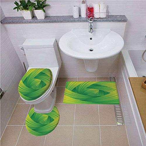 New Wave Modern Cabinet - Toilet carpet floor mat,Abstract Home Decor,Fresh Swirl Creativity Striped Artistic Curvy Waves Trendy Illustration Decorative, ,Bath mat set Round-Shaped Toilet Mat Area Rug Toilet Lid Covers 3PCS