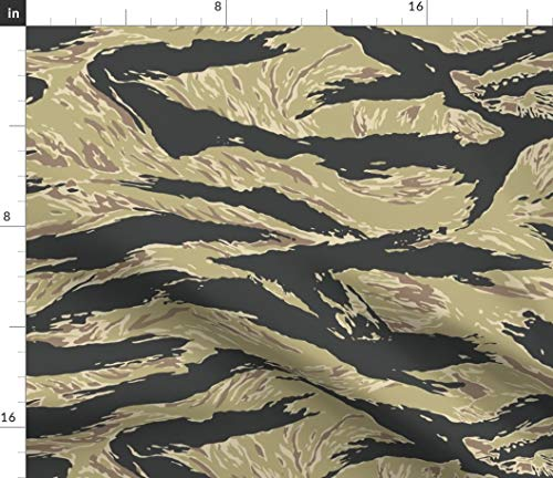 Spoonflower Golden Fabric - Tiger Stripe Camo Vietnam Print on Fabric by The Yard - Eco Canvas for Durable Upholstery Home Decor Accessories