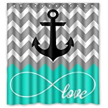 Home&Family Love Infinity Forever Love Symbol Chevron with Nautical Anchor Turquoise Grey White Waterproof Fabric Bathroom Shower Curtain with Hooks , Decor 66 x 72