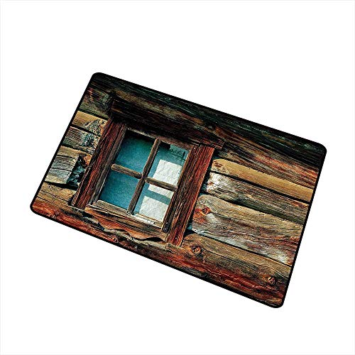 Printed Door mat Scenery Decor Single Window with White Curtain on a Wooden Made Lumberjack House Photo W35 xL47 Machine wash/Non-Slip Brown and Blue