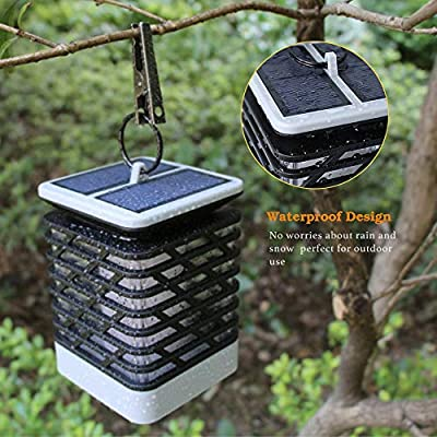 Solar Lantern Lights, Dancing Flame Hanging Lantern Waterproof Outdoor Solar Powered Lights Dusk to Dawn Auto On/Off Solar Flame Landscape Lights for Garden Patio and Yard 2pcs : Garden & Outdoor