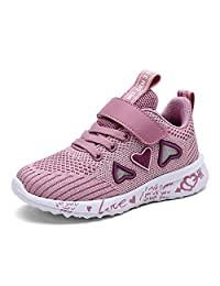 Girls Cute Anti Slip Sport Shoes Breathable Heart Pattern Athletic Sneakers Casual Children Mesh Trainers