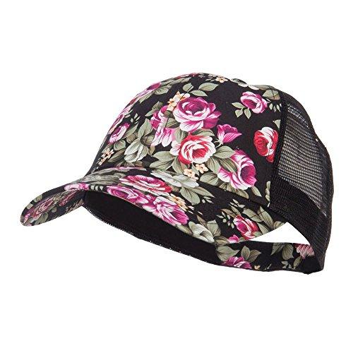 Floral Print Mesh Trucker Cap - Black - Cap Crown Print
