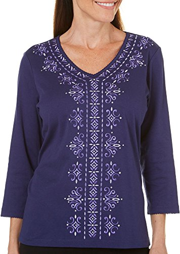 Alfred Dunner Petite Family Jewels Embroidered Top X-Large Petite Amethyst Purple (Alfred Dunner Petite Blouse)