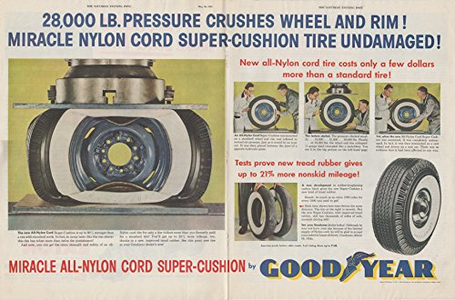 1953 GOODYEAR ALL-NYLON CORD SUPER-CUSHION Tires HUUUGE VINTAGE COLOR AD DOUBLE PAGE - USA - BEAUTIFUL ORIGINAL !! (BRKWY) - Goodyear Tire Rubber Company