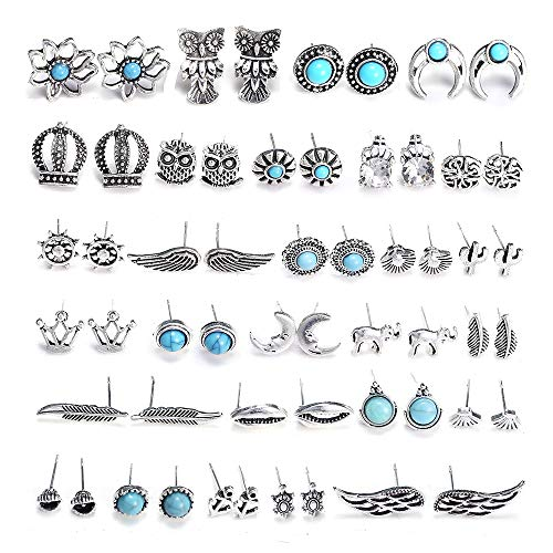 ssorted Multiple Boho Stud Earrings Jacket Set Vintage Turquoise Owl Leaf Cactus Earrings Stud for Women Girls ()