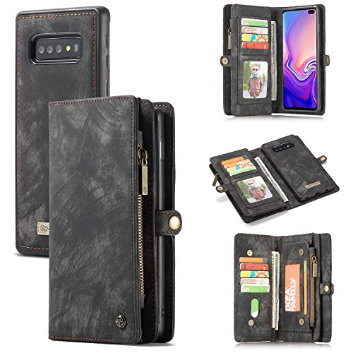 Samsung Galaxy S10 Wallet Case - MOONORN Premium Leather Zipper Purse Detachable Magnetic Flip Case S10 Shockproof Cell Phone Case with Credit Card Slots (Black)