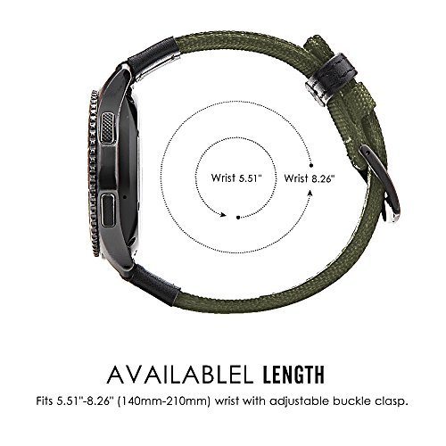 Gear S3 Bands Nylon, Maxjoy S3 Frontier Classic Band 22 mm Woven Nylon Replacement Strap Large Sport Wristband Bracelet with Stainless Steel Metal Buckle for Samsung Gear S3 Smart Watch, Army Green by Maxjoy (Image #5)