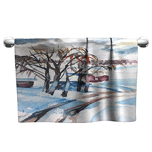 - homecoco Bath Towels Hand Drawn Romantic Watercolor Paper Winter Forest Snow Trees Nice Painting for Interior Prints Covers Scrapbook Cards Invitations calendars Baby Beach Towel 20 x 40 Inch