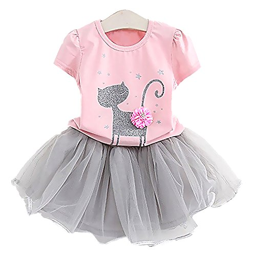 2Bunnies Little Girls Toddler Baby Girl 2 Piece Sparkle Cat Top Tutu Chiffon Skirt Sets (2T, Pink) (Cat Tutu)