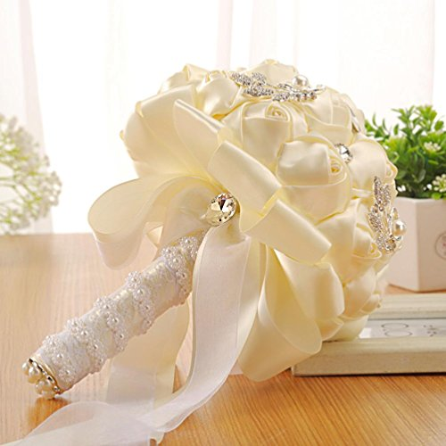 Wedding Bouquet,YJYDADA Crystal Roses Bridesmaid Wedding Bouquet Bridal Artificial Silk Flowers (White)