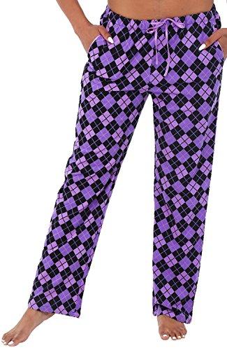 Alexander Del Rossa Womens Flannel Pajama Pants, Long Cotton Pj Bottoms, Small Purple and Black Checks (A0703Q63SM) (Womens Pajamas Purple)