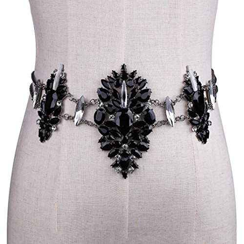 Iuhan Women Crystal Rhinestone Bling Statement Body Waist Chain Belt Clubwear Retro (Black) ()