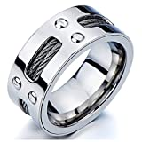 Man's Stainless Steel Ring Wedding Band with Steel Cables and Screws 10mm(23a)