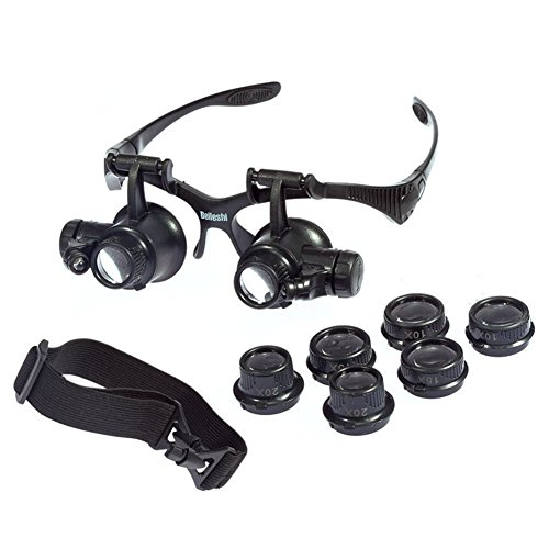 Beileshi Glsses Magnifier 10 x 15x 20 x 25x LED Illumination Double Eyes Jewelry Magnifying Loupe Eyeglass Repair Tools for Miniature (10 X Magnifying Glass Magnifier)