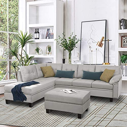 UNIROI Modern Reversible Sectional Living Room Furniture Sets, Micro Suede Fabric Sofa with Chaise & Ottoman, Grey