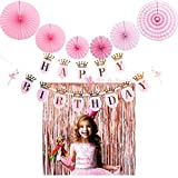 MOCCAMODE Backdrop Birthday Party Curtain Rose Gold Metallic Tinsel Foil Fringe Curtains Decoration And Happy Birthday Banner With 2pcs Rose Gold Metallic Fringe Curtains 6pcs Tissue Paper Fans (21 PC