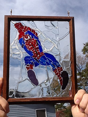 Spiderman Sun Catcher stained glass window art
