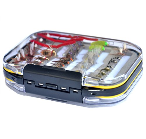 (Outdoor Planet Double Side Waterproof Pocketed Fly Box + Assorted Trout Fly Fishing Lure Pack of 35 Pieces Fly Lure)