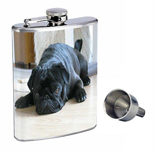 激安商品 犬ブラックパグPerfection inスタイル8オンスステンレススチールWhiskey Flask with B01668PNTW Free with Free Funnel B01668PNTW, ネットdeまつやま:93fdcd6f --- domaska.lt