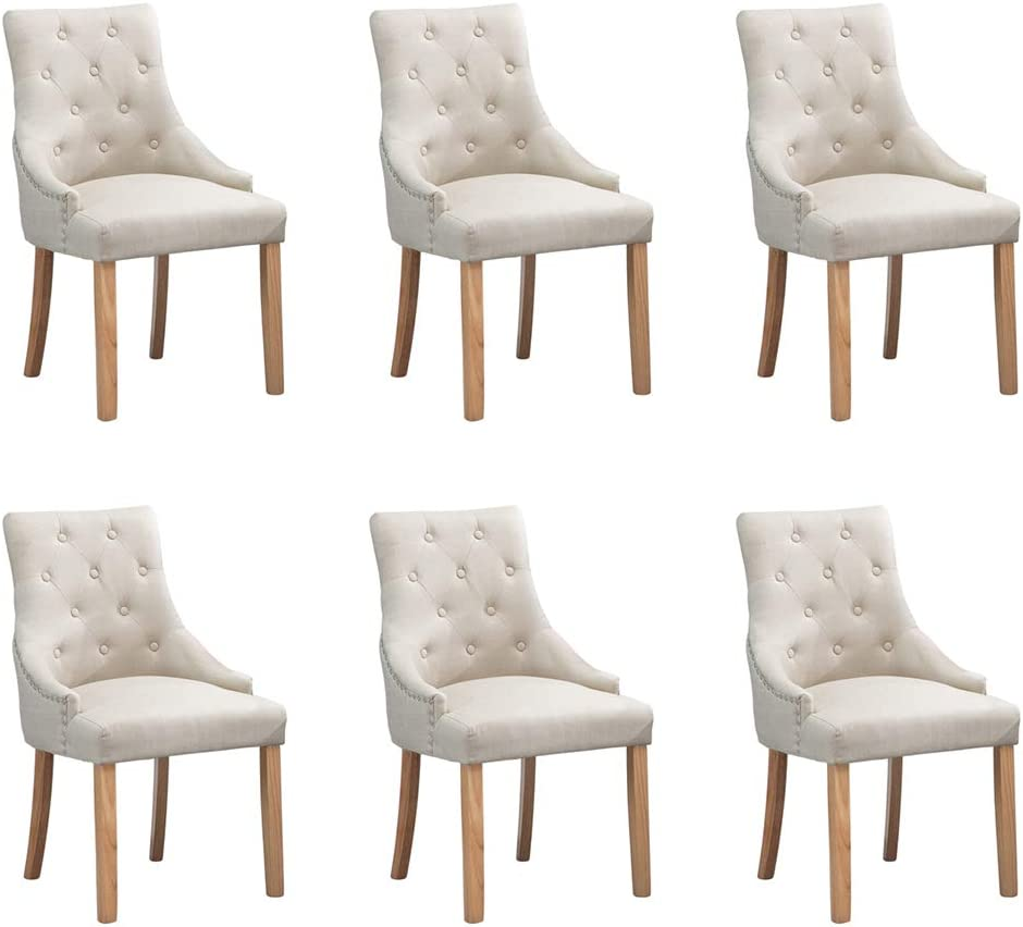 BOJU Occasional Kithcen Dining Chairs Set of 2 with Armrests Beige Linen Fabric Upholstered Armchairs with Oak Wood Legs Chairs Restaurant Furniture Chairs Pair