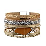 Bfiyi Leather Bracelet Women Agate Cuff Bangle Handmade Jewelry Fashion Bracelets for Teen,Mother,Sister