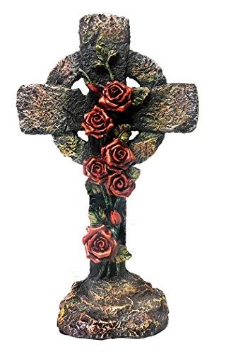 (Bellaa 22229 Standing Cross Inspirational Red Rose Flower 9.5 inch)