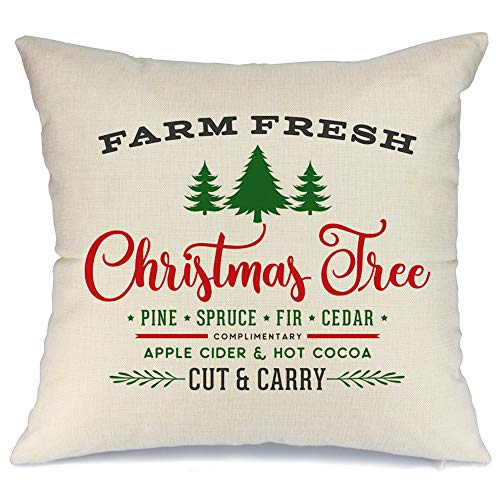 AENEY Christmas Pillow Cover 18x18 for Couch Christmas Tree Farm Fresh Throw Pillow Farmhouse Decorations Home Decor Xmas Decorative Pillowcase Faux Linen Cushion Case Sofa Red