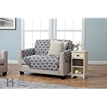 Adalyn Collection Printed Reversible Furniture Protector By Home Fashion Designs (Love Seat - Charcoal)