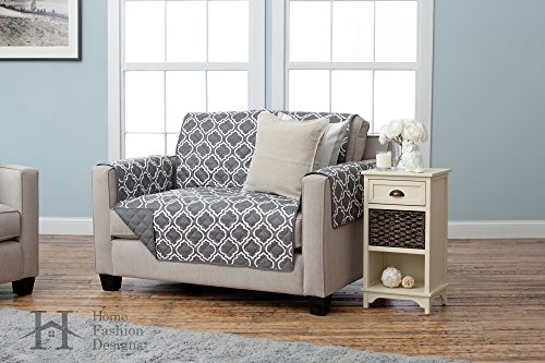 Adalyn Collection Deluxe Reversible Quilted Furniture Protector. Beautiful Print on One Side / Solid Color on the Other for Two Fresh Looks. By Home Fashion Designs Brand. (Loveseat, Charcoal) (Pet Couch Covers For Furniture)