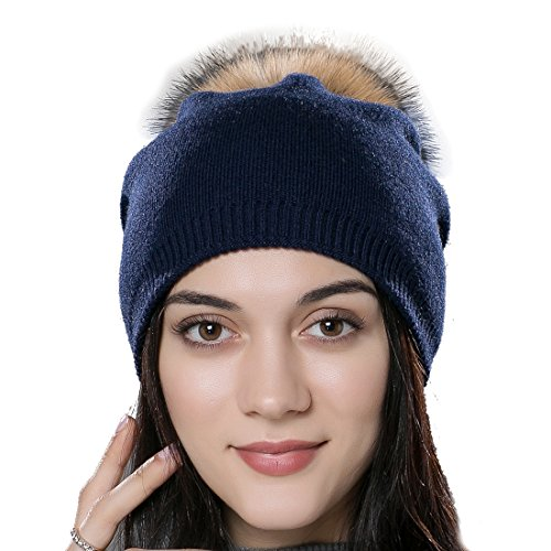 URSFUR Autumn Unisex Wool Knit Beanie Cap with Fur Ball Pom Pom Winter Hat