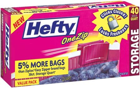 Amazon.com : Hefty One Zip Fd Storag Bg Quart - 9 Pack ...