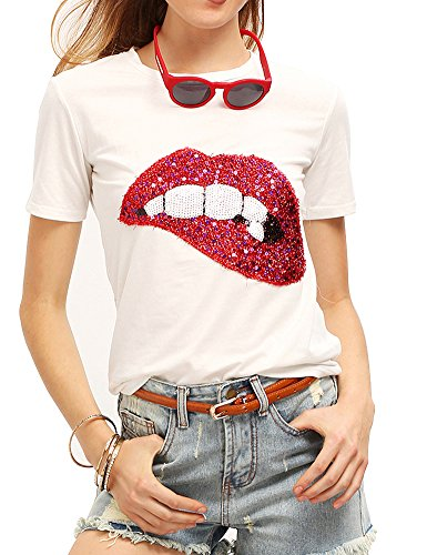 (Women's Sequined Sparkely Glittery Lip Print T Shirt Cute Embroidery Teen Girls Tops (S,White))