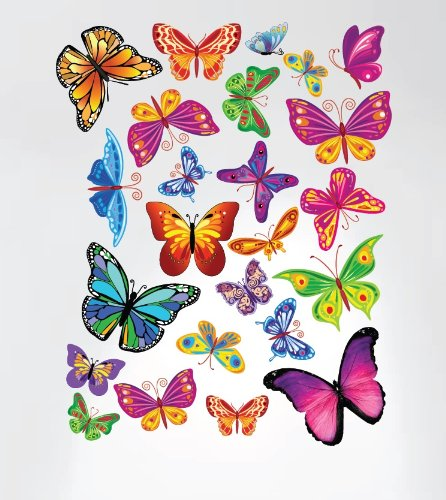 - Innovative Stencils 3005 Easy Peel and Stick Colorful Butterflies Nursery Decal Instant Home Decor Wall Sticker