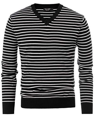 (PJ PAUL JONES Men's Long Sleeve Lightweight Striped Pullover Soft V Neck Sweater (2XL,Black))