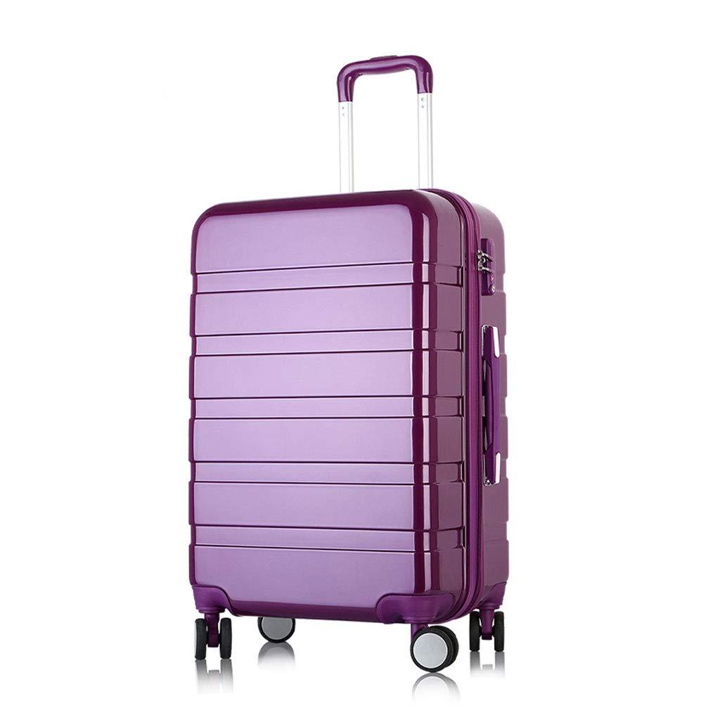 スーツケース旅行Absハードシェル4ホイールキャリートラベルトロリーハンドキャビン荷物スーツケース、パープル 35*25*58cm  B07MJV66JK