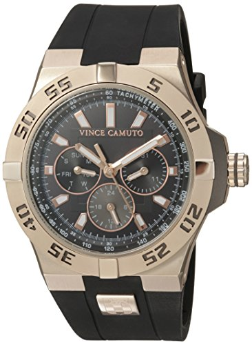 Vince Camuto Men's VC/1010BKRG The Master Multi-Function Black Silicone Strap Watch