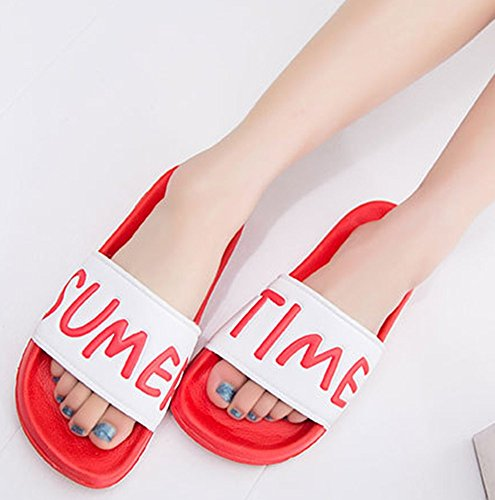 Idifu Mujeres Hombres Comfy Carta Imprimir Flat Slide Sandals Beach Indoor Summer Slippers Rose Red