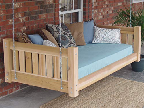 THREE MAN Cedar Victorian Daybed Swing with Hanging Chain - Twin Size Natural