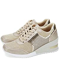 High Heeld Wedge Sneakers for Women - Ladies Hidden...